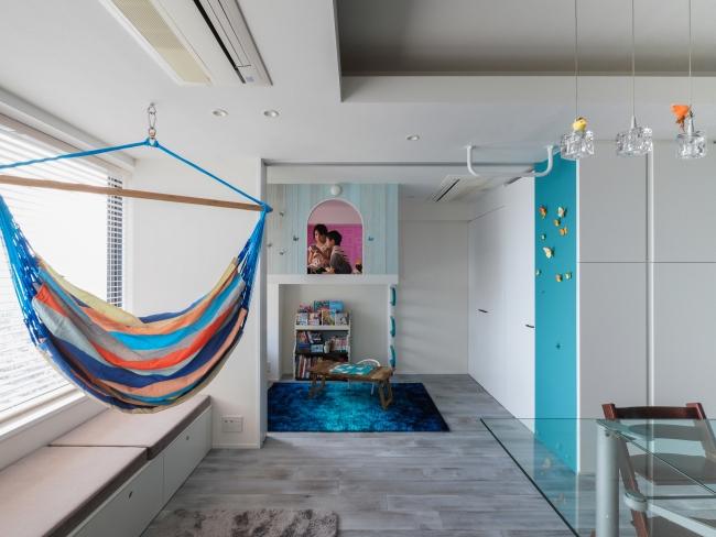 キッズスペースの吊りベッド
